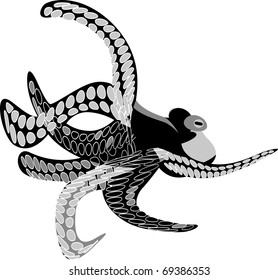 octopus black and white printing