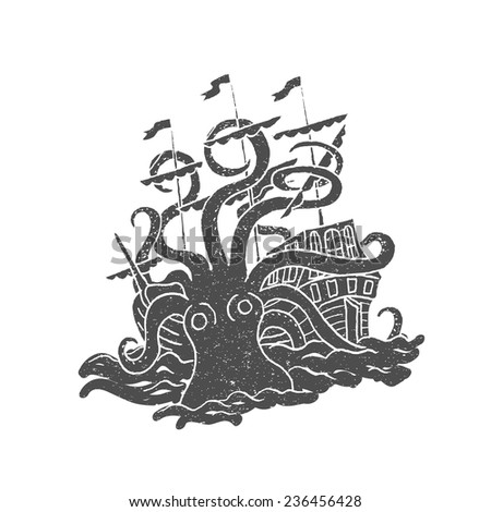 Octopus With Boat Vintage Rubber Stamp Vector Illustration In Doodle Style