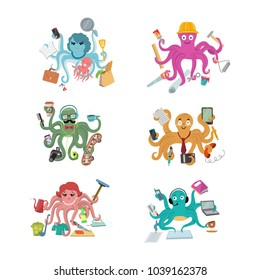 Octopus in business vector illustration octopi character of businessman constructor or housewife doing multiple tasks set of multitasking octopuses isolated on white background