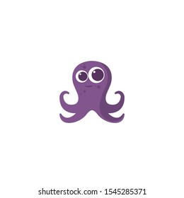 Octopus cartoon character vector on a white background