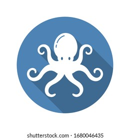 Octopus Circle Icon Flat with long Shadow. Marine life, ocean, oceanology. Vector illustration. White isolated background