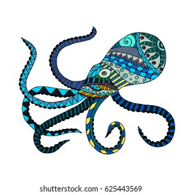 Octopus colorful doodle with abstract pattern. Vector illustration. Hand drawn zentangle. Ornamental pattern for print, poster, tattoo and t-shirt design. Made by trace from sketch.