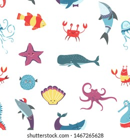 Octopus and crayfish seafood raw oceanic animals seamless pattern vector aquatic creatures fish and nautical tropical wildlife dwellers, squid and whale starfish shrimp and swimming nautilus sea