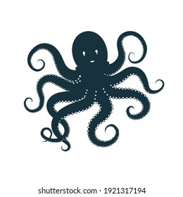 Octopus, deep blue  silhouette on white background. Ocean animal character logo or sign. Vector illustration