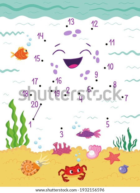 Octopus. Dot to Dot. Connect the dots from 1 to 20. Game for kids. Vector illustration.