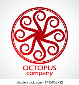 octopus eight tentacles elegant red color circle logo