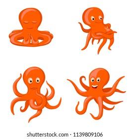 octopus emotional characters, emoji drawings