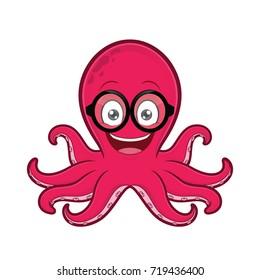 Octopus geek wearing glasses