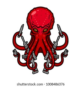 Octopus with guns. Devilfish with weapons. Vector illustration