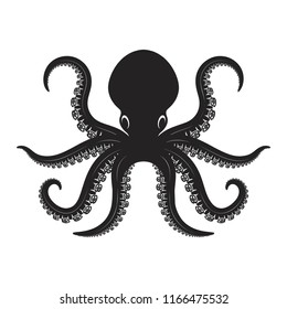 Octopus illustration isolated on white background. Design element for logo, label, emblem, sign. Vector image
