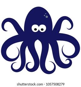 Octopus Illustration Vector Art, Cute Blue Octopus Clip Art