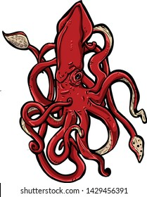 Octopus Kraken Monster Red and Cool This Kraken can printout for sticker, poster, wallpaper and others