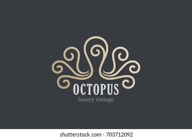 Octopus Logo abstract for Luxury Seafood restaurant Fashion Jewelry. Creative Linear Vintage Logotype concept icon.