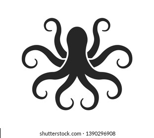 Octopus. Logo. Black silhouette Vector illustration.