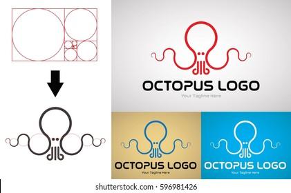 Octopus Logo Design for Creative Business. Design and Made with Golden Ratio Principles. Vector Logo Template.