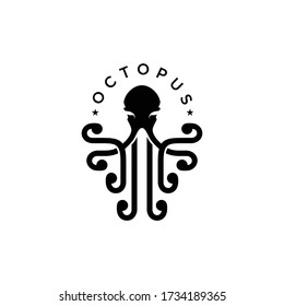 Octopus Logo, Simple Octopus Vector Logo Design, Isolated on White Background. Vector illustration