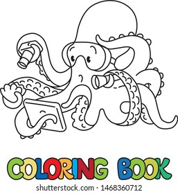 Octopus oceanographer. Coloring picture or coloring book of funny octopus oceanologist with flashlight and camera on the seabed. Animals with profession ABC. Children vector illustration. Alphabet O