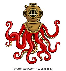Octopus and old diver helmet pop art retro vector illustration. Isolated image on white background. Comic book style imitation.