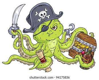 Octopus Pirate - Cartoon Illustration