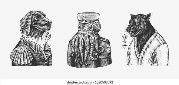 Octopus sailor and Dog officered Black panther and Bee biker. Japanese text means: karate. Fashion animal character. Hand drawn sketch. Vector engraved illustration for T-shirts or tattoo.