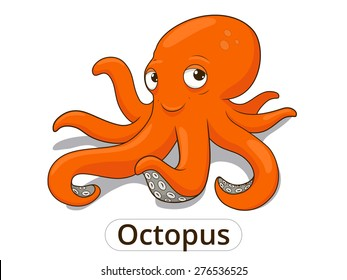 Octopus sea animal fish cartoon illustration for children