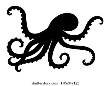 Octopus - sea animal vector silhouette for icon or sign on a sea or ocean theme. Black silhouette of an octopus for a logo or pictogram on the theme of marine life.