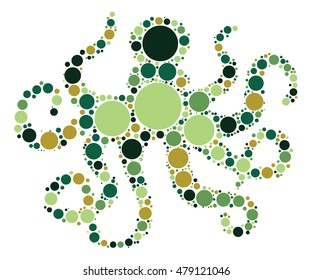 octopus shape vector design by color point