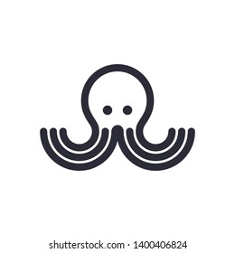 Octopus Simple Vector Logo Design Inspiration Isolated on White Background