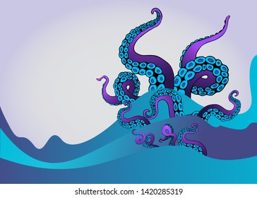 Octopus tentacle in sea waves. Underwater ocean monster Kraken. Cartoon Japanese squid cuttlefish cartoon vector illustration for web and print decoration