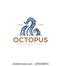 """Octopus"" tentacles logo. Hand drawn vector illustration of an octopus palps  in engraving technique. Elegant emblem design for Japanese cuisine restaurant, sushi bar."