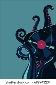 Octopus tentacles with vinyl record turntable. Party poster template.