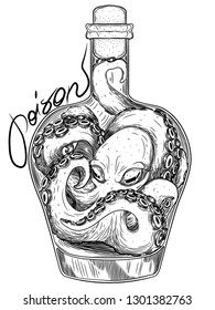 octopus trapped in a bottle symbolizing poison in ink graphic style