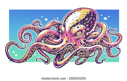 Octopus Vector Art with bright colors. Graffiti style vector illustration of octopus.