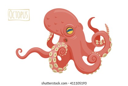 Octopus, vector cartoon illustration