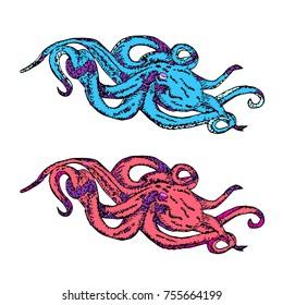 Octopus vector illustration. Doodle style. Design, print, logo, decor, textile, paper