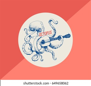 Octopus. Vector illustration of octopus playing guitar, hand drawn, vintage illustration