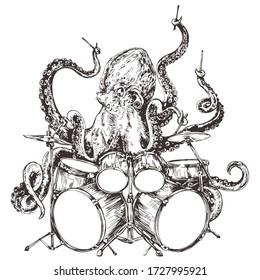 Octopus virtuoso drummer playing frantic rhythm sketch vector print for t-shirt