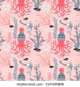 Octopus in winter hat with decoration garland Fish with candy Seaweed Coral Starfish decorative Xmas repeatable print. Underwater Christmas seamless vector pattern. Seasonal holidays wrapping paper.