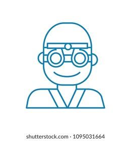 Ocular examination linear icon concept. Ocular examination line vector sign, symbol, illustration.