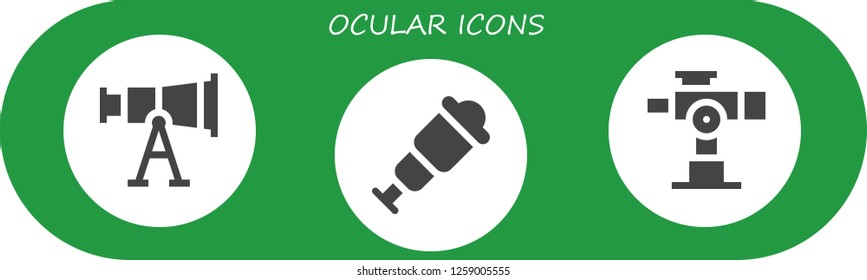 ocular icon set. 3 filled ocular icons. Simple modern icons about  - Telescope, Spyglass