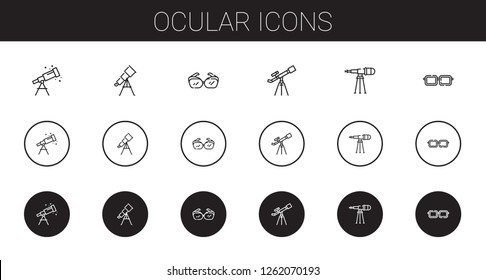 ocular icons set. Collection of ocular with telescope, eyeglasses. Editable and scalable ocular icons.