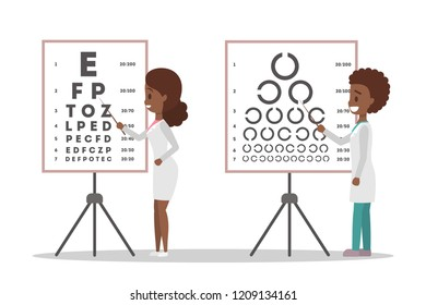 Oculist african american doctor couple pointing at letter on board. Checking eyesight and vision examination. Medical treatment concept. Isolated flat vector illustration