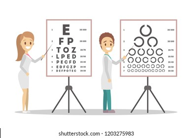 Oculist doctor couple pointing at letter on board. Checking eyesight and vision examination. Medical treatment concept. Isolated flat vector illustration