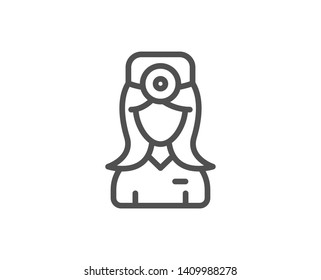 Oculist doctor line icon. Health eye sign. Optometry clinic symbol. Quality design element. Linear style oculist doctor icon. Editable stroke. Vector