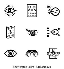 Oculist icons set. Simple set of 9 oculist vector icons for web isolated on white background