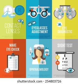 Oculist mini poster set with ophthalmology sight test eyeglasses adjustment isolated vector illustration