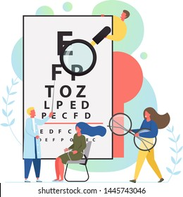 Oculist vector flat style design illustration. Optometry doctor health care professional checking eye sight of his patient. Eye test and vision correction procedure concept for web banner website page