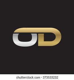 OD company linked letter logo golden silver black background