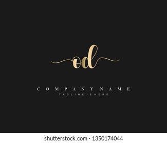 OD initial handwriting logo template with luxury color vector.