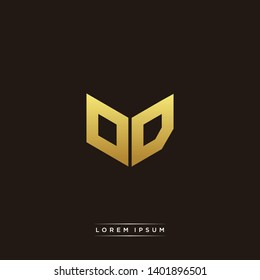 OD Logo Letter Initial Logo Designs Templete with Gold and Black Background
